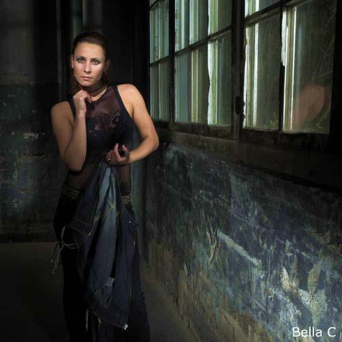 Bella C with elegant fishnet-shirt-dress