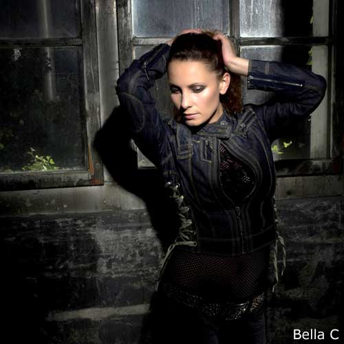 Bella C - elegance with black black dress and hands to head