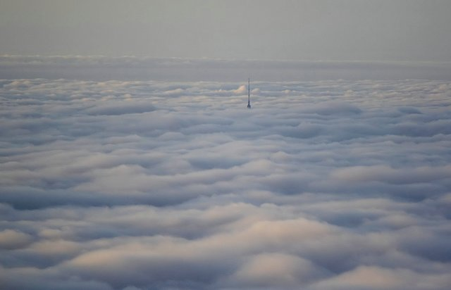 Ostankino tower in Moscow. Ostankino fernseh-turm in Moskau. Ueber den wolken. Over the clouds.