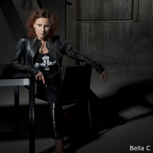 Bella C with jacket and cross t-shirt